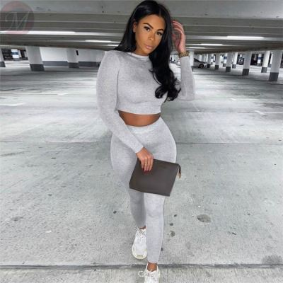 Lowest Price Casual Fashion Long Sleeve Solid Color 2 Pcs Track Suit Outfits Two Piece Set Women Clothing