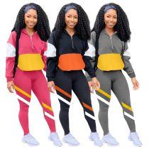 Casual Sports Suit Jogging Suit Contrast Color Splice Women 2 Piece Set Track Suit Outfits Two Piece Set Women Clothing