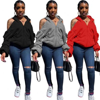 Newest Design Women Fashion Clothing Solid Color Zip Long Sleeve Hooded Tops Sexy Backless Coat Women Hoodie