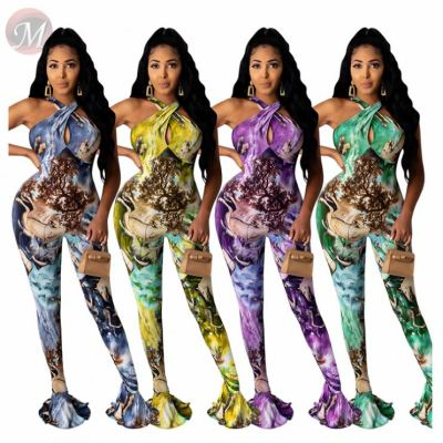 Fashion Casual Print Spaghetti Strap Jump Suit Basic Bodysuits Women One Piece Jumpsuits And Rompers For Woman