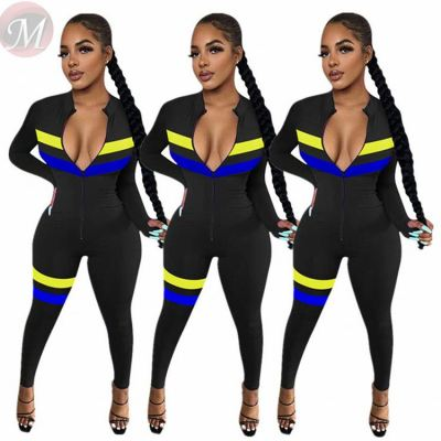 High Quality Zipper Patchwork Color Casual Skinny Fashion Fitness Jump Suit Bodycon Sexy Women One Piece Jumpsuits And Rompers