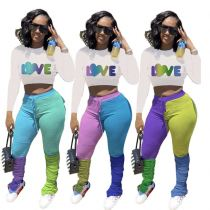Fashionable Letter Print Contrast Color Splice Crop Top And Pants Stacked Pants Set Outfits 2 Piece Set Women Clothing