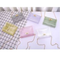 2020 Hot Sale Fashion Casual All Match Mini Colorful Jelly Pvc Grid Crossbody Chain Bag