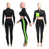 Best Seller 2020 Fashion Sexy Mesh Splice Crop Top And Pants 2 Pcs Track Suit Outfits Two Piece Set Women Clothing