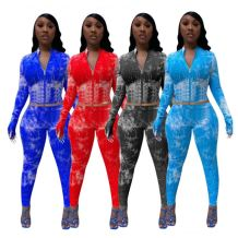 Newest Fashion Casual Tie Dye Zipper High Elasticity 2 Pcs Track Suit Outfits Two Piece Set Women Clothing For Women