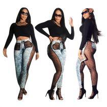 Best Design Perspective Sexy Lace Splice Denim Pants Women Female Bottoms Ladies Trousers Jeans Pants