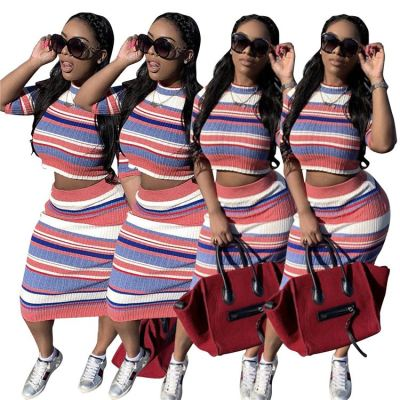 Best Seller Fashion Casual Striped 2 Pcs Dress Outfits Skirt And Top Two Piece Set Women Clothing For Women
