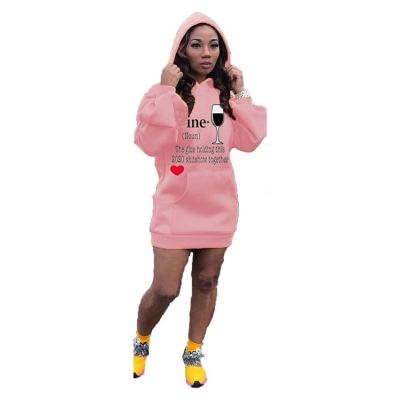 Best Design Fashion Casual Hoodies Letter Print Long Sleeve Women Girls' Sexy Clothes Lady Elegant Dress