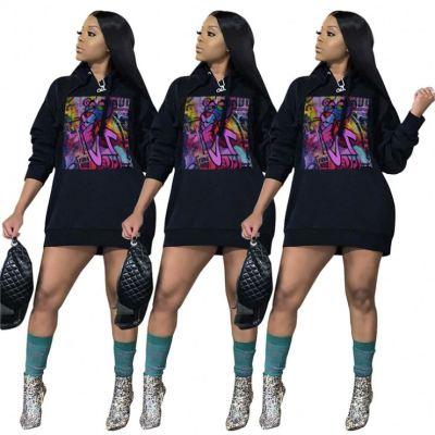 New Design 2020 Fall Winter Fashion Print Long Sleeve Casual Hoodies All Match Ladies Sexy Custom Women Tops