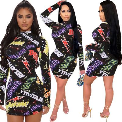 Latest Design Print Long Sleeve Sexy Bodycon Dress Ladies Clubwear Women Girls' Casual Dress Fall Clothing For Women
