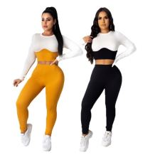 New Sexy Casual Skinny Patchwork Color Fashion Top And Pants Sexy 2 Pcs Track Suit Outfits Two Piece Set Women Clothing