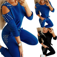 2020 Fall New Solid Color Beading Long Sleeve Sports Suit Women 2 Piece Pants Set Outfits Two Piece Set Women Clothing