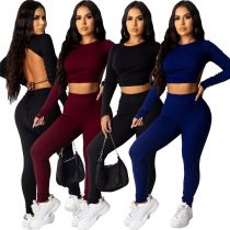 Hot Sale Fall New Rib Solid Color Crop Top And Pants Sexy Backless 2 Pcs Track Suit Outfits Two Piece Set Women Clothing