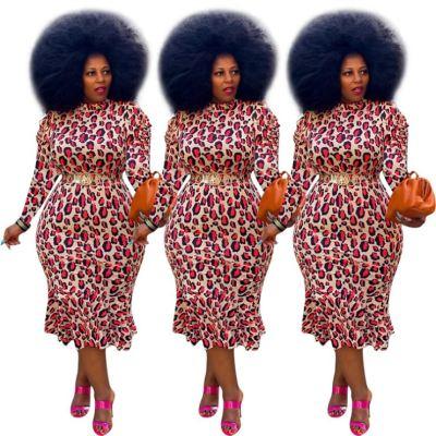 Wholesale Fashion Casual Print Long Sleeve Large Size Maxi Long Lady Elegant Sexy Clothes Women Girls' Dress
