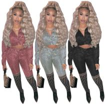 2020 Fall And Winter New Sparkling Crop Top And Pants Sexy 2 Pcs Track Suit Outfits Two Piece Set Women Clothing For Women