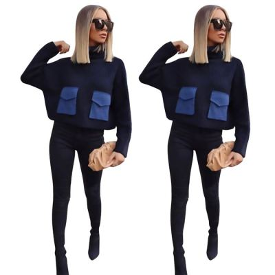 New Arrivals Sweater Pullover Women Turtleneck Sweater Long Sleeve Loose Splice Winter Knitted Ladies Women Clothing