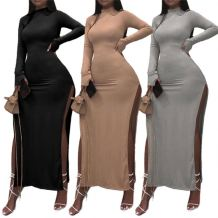 Wholesale Fashion Turtleneck Solid Color Dress Rib Sexy Slit Ladies' Club Dress Women Elegant Clothes Casual Long Dress