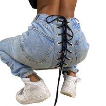 2020 Fall New Fashion Casual Streetwear Eyelet Bandage Denim Pants Women Female Bottoms Ladies Trousers Jeans Pants