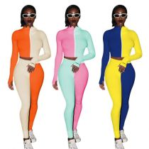 Hot Selling Contrast Color Splice Letter Embroidery Women Rib 2 Piece Set Track Suit Outfits Two Piece Set Women Clothing