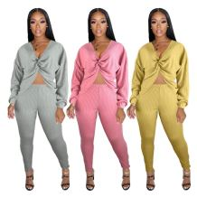 New Sexy Fashion Casual V Neck Solid Color Top And Pants Sexy 2 Pcs Track Suit Outfits Two Piece Set Women Clothing