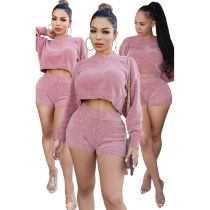 Latest Design Fall Fashion Casual Solid Color Sexy 2 Pcs Track Suit Outfits Two Piece Shorts Set Women Clothing