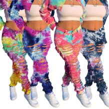 Lowest Price Fashion Casual Hole Hollow Out Tie Dye Women Female Bottoms Ladies Trousers Jeans Pants
