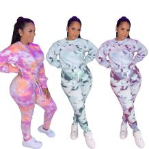 New Design Fashion Tie Dye Loose Casual Long Sleeve 2 Pcs Track Suit Outfits Two Piece Set Women Clothing