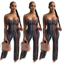 Newest Design Fashion Striped Spaghetti Strap Casual Jump Suit Basic Bodysuits Women One Piece Jumpsuits And Rompers