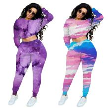 Wholesale Fashion Tie-Dye Sports Suit Top And Pants Sexy 2 Pcs Track Suit Outfits Two Piece Set Women Clothing