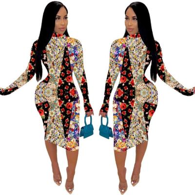 Newest Design Long Sleeve Floral Print Splicing Sexy Bodycon Dress Women Girls' Casual Dress Fall Clothing For Women