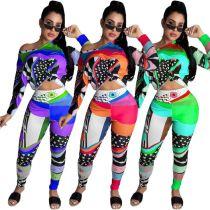 Design Fashion Digital Print Sexy Off Shoulder Casual Sports Suit 2 Pcs Track Suit Outfits Two Piece Set Women Clothing