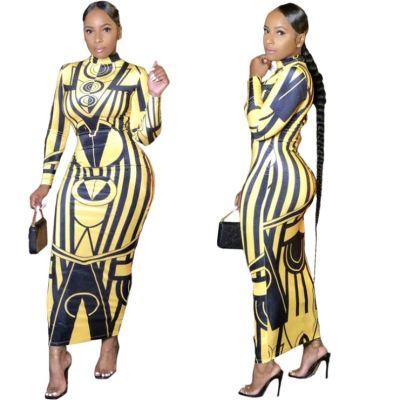 Fashion Sexy 2020 All Match Casual Skinny Print Maxi Long Lady Elegant Clothes Women Girls' Dress