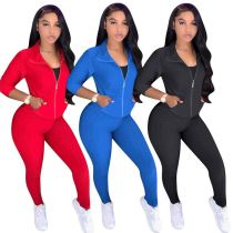New Sexy Fashion Solid Color High Elasticity Zipper 2 Pcs Track Suit Outfits Two Piece Set Women Clothing