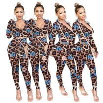 New Sexy Casual Fashion Sexy V Neck Leopard Butterfly Print 2 Pcs Track Suit Outfits Two Piece Set Women Clothing