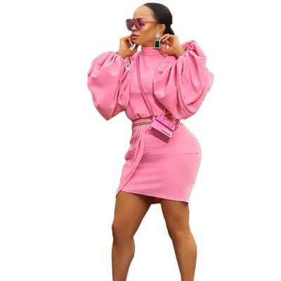 Ladies Fall Clothing Latest Design Solid Color Puff Sleeve 2 Piece Top And Skirt Set 2020 Fashion Women Outfit Dress Set