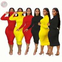 Newest Design Solid Color High Collar Fashion Long Sleeve Women Girls' Sexy Clothes Lady Elegant Casual Dress