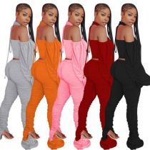 Best Seller Solid Color Puff Sleeve Backless Halter Top And Pants Sexy 2 Pcs Track Suit Outfits Two Piece Set Women Clothing