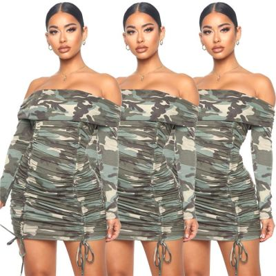 Wholesale 2020 Fashion Camouflage Printed Off The Shoulder Pleated Women Girls' Casual Dress Fall Clothing For Women