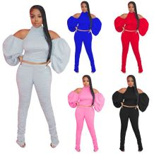 Best Design Fashion Solid Color Backless Draped Hollow Out 2 Pcs Track Suit Outfits Two Piece Set Women Clothing