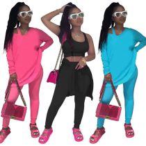 Hot Selling Solid Color Sports Suit Jogging Suit Women 3 Piece Set Track Suit Outfits Three Piece Set Women Clothing