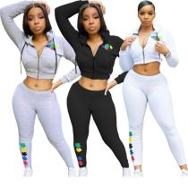 2020 Fall And Winter New Long Sleeve Hooded Sports Suit Offset Print 2 Piece Set Outfits Two Piece Set Women Clothing