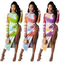 Design Fashion 2020 High Slit Casual Tie Dye Long Sleeve Women Girls' Sexy Clothes Bandage Lady Elegant Dress