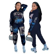 2020 Fall And Winter New Fashion Print Street Sports Hoodie Suits Sexy 2 Pcs Track Suit Outfits Two Piece Set Women Clothing