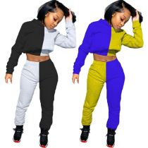 Fashion Casual Solid Color Splice Long Sleeve Hoodie Sports Suit Sexy 2 Pcs Track Suit Outfits Two Piece Set Women Clothing