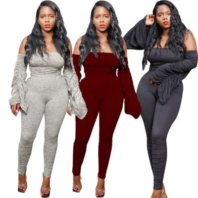 Wholesale Fashion Solid Color Off The Shoulder Draped Sexy Bodycon Jumpsuit Women 2020 One Piece Jumpsuits And Rompers