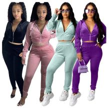 0081706 Best Seller Fall And Winter New Velvet Zip Hooded Jogger Set 2 Pcs Track Suit Outfits Two Piece Set Women Clothing
