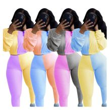 Newest Design Casual Fashion Patchwork Color Long Sleeve 2 Piece Outfit Two Piece Set Women Clothing