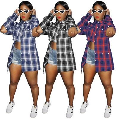 Best Design 2020 Fall New Plaid Shirt Button Asymmetric Loose Oversize Casual Blouse And Shirts For Women