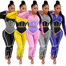 2020 Fall And Winter New Skinny Sports Suit Yoga Wear Contrast Color Splice Hoodie Outfits Two Piece Set Women Clothing