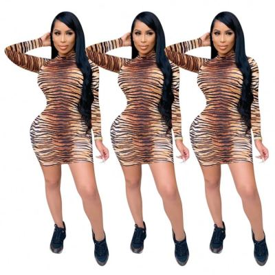 Hot Onsale Fashion Leopard Print Fall 2020 Women Clothes Ladies Sexy Night Clubwear Bodycon Fall Dresses For Women
